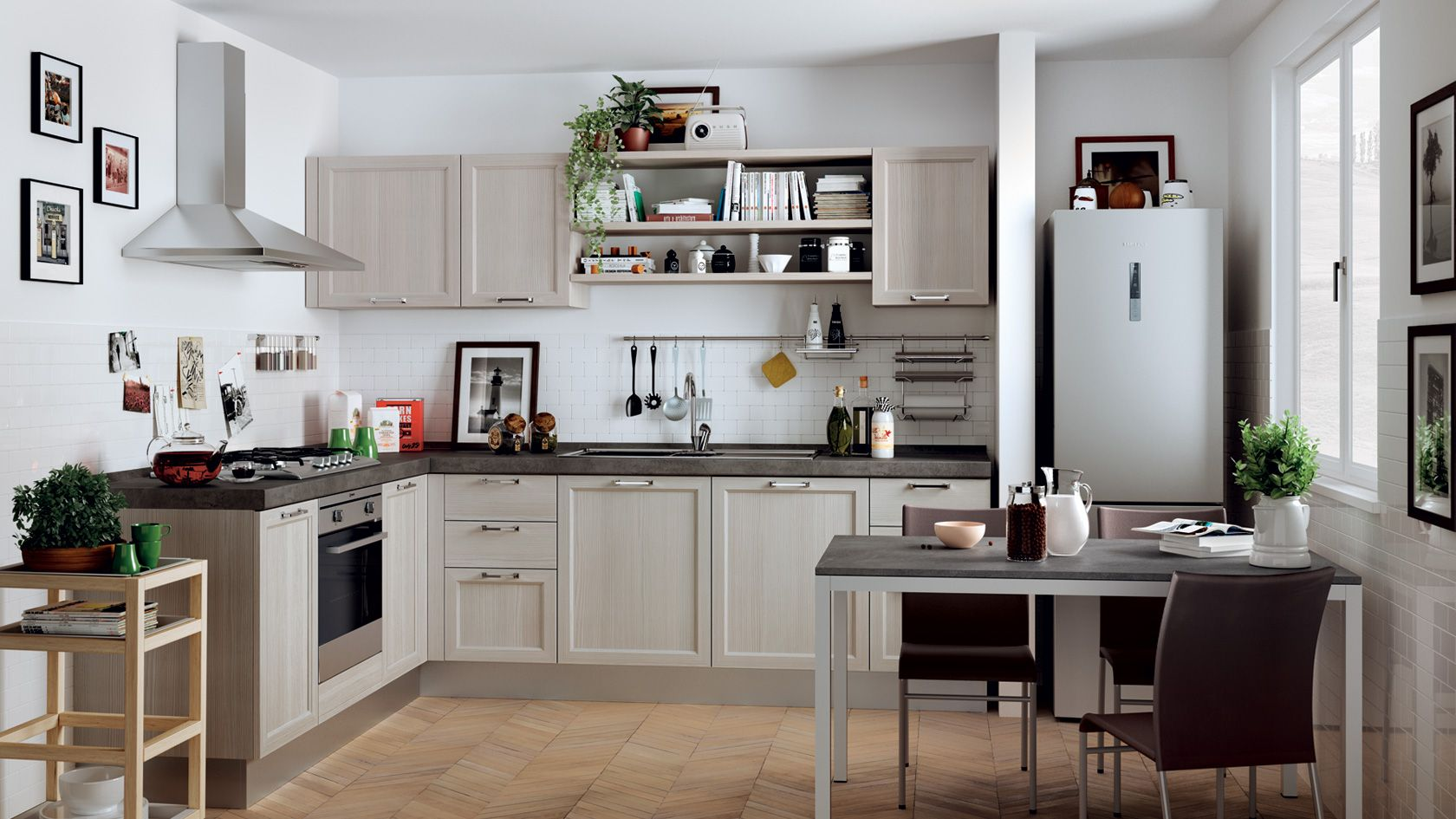 a large kitchen in a large room | corner composition by #scavolini, Hause ideen