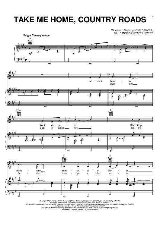 Bien-aimé Take Me Home, Country Roads Sheet Music by Olivia Newton-John  YI86
