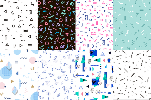 Set of 8 memphis patterns in geometric elements. Pattern in hipster, memphis style. Pattern is suitable for posters, postcards, fabric or wrapping paper, fashion, shirt, cover, icons, banners, stamps, pencil, print, fabric, books.