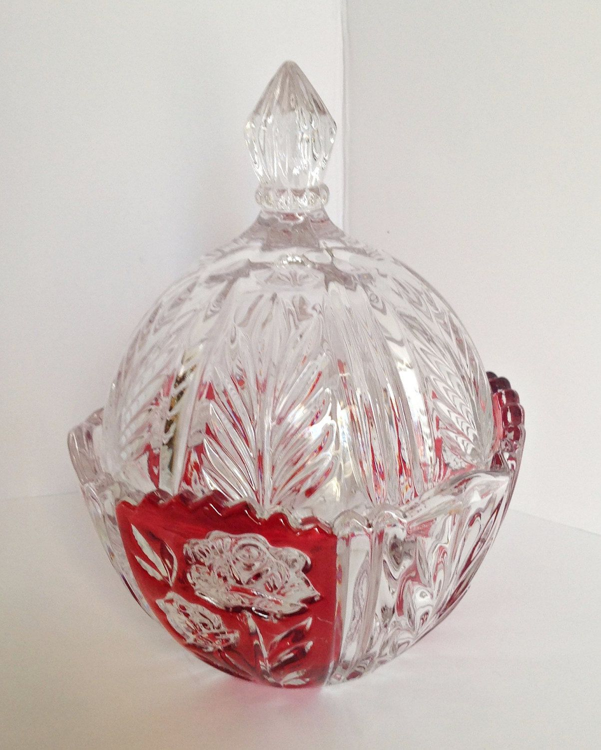 Lead Crystal Bleikristall Candy Dish Jar w/Lid Ruby Red Stain ...