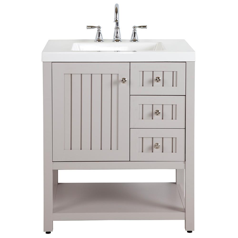 Martha Stewart Living Seal Harbor 30 In W Bath Vanity Sharkey Gray With Cultured Marble Top Tops Best Bathroom Vanities