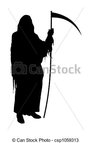Drawings Of Grim Reaper Illustrated Silhouette Of The Grim Reaper On A Csp1059313 Search Clipart Illustration And Grim Reaper Art Grim Reaper Reaper