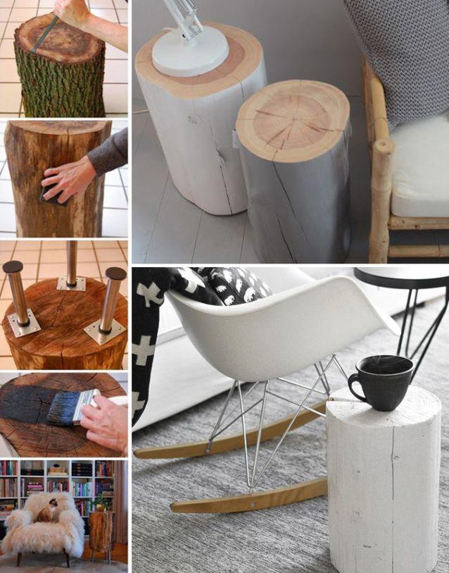 diy ce petit rondin de bois qui se transforme en oeuvre d art hello caro diy pinterest. Black Bedroom Furniture Sets. Home Design Ideas