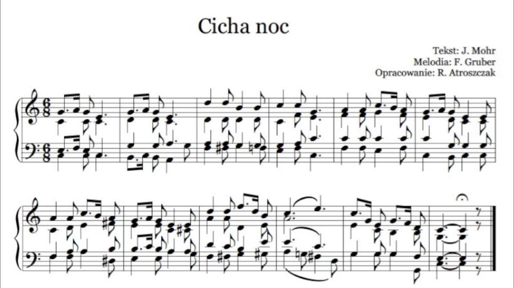 Cicha Noc Nuty I Tekst Pdf Na Organy Lub Pianino Do Koledy Sheet Music Music