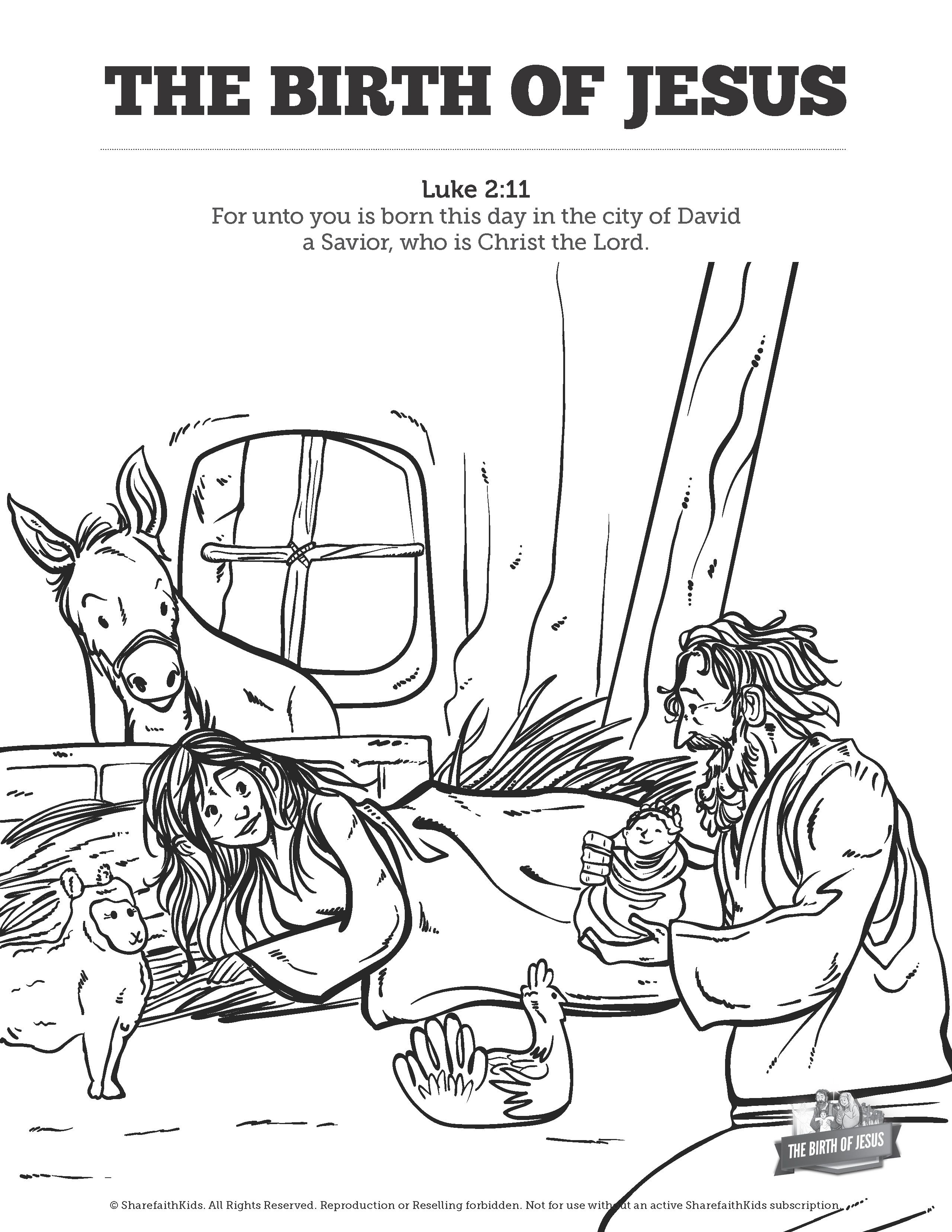 The Birth of Jesus Sunday School Coloring Pages: Your kids