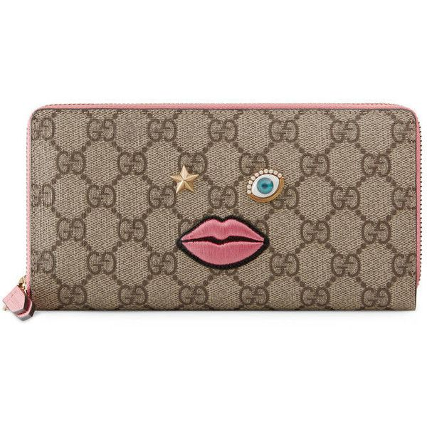 cba32b0888e1a1 Gucci Zip Around Wallet With Embroidered Face (£405) ❤ liked on Polyvore  featuring bags, wallets, accessories, women, embroidered wallet, gucci, pink  ...