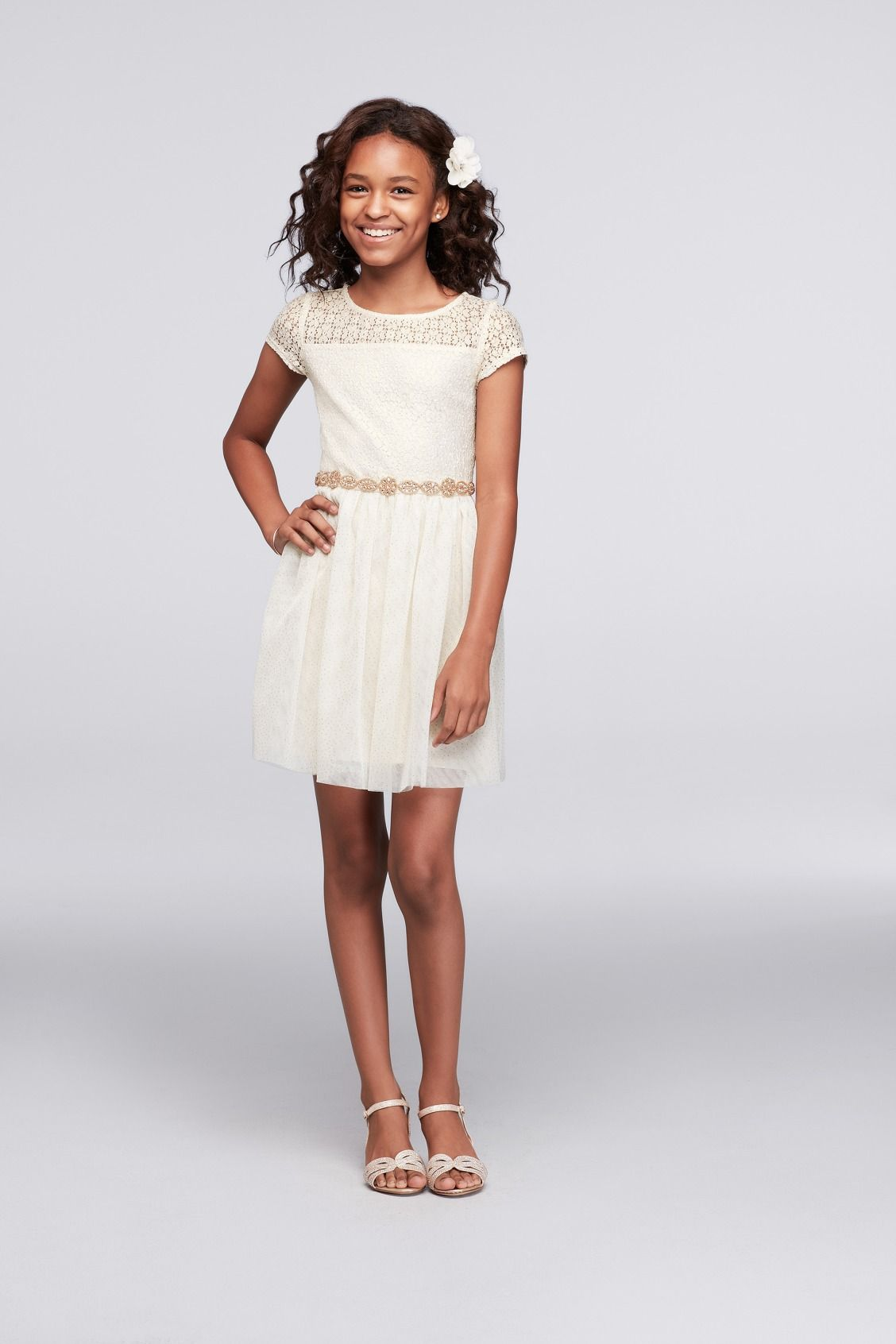 80b8411405da Lace and Tulle Short Dress with Beaded Waist Little Girl Holiday ...