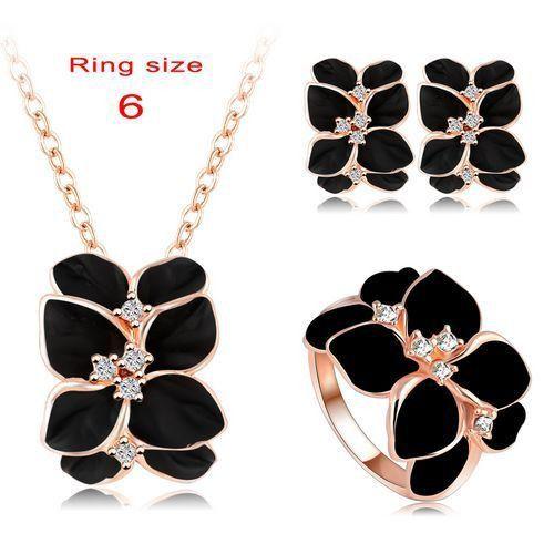 Jewelry Set Rose Gold Plate Austrian Crystal Enamel EarringNecklace