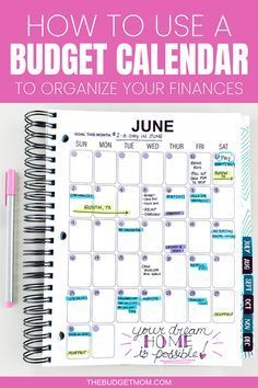 A Budget Calendar can help you create a realistic budget and organize your finances. When it comes to paying your bills and saving money, a budget calendar is a lifesaver, time saver, stress saver, and a money saver. | The Budget Mom  #budgettips #budget #organizationtips #organize #calendar