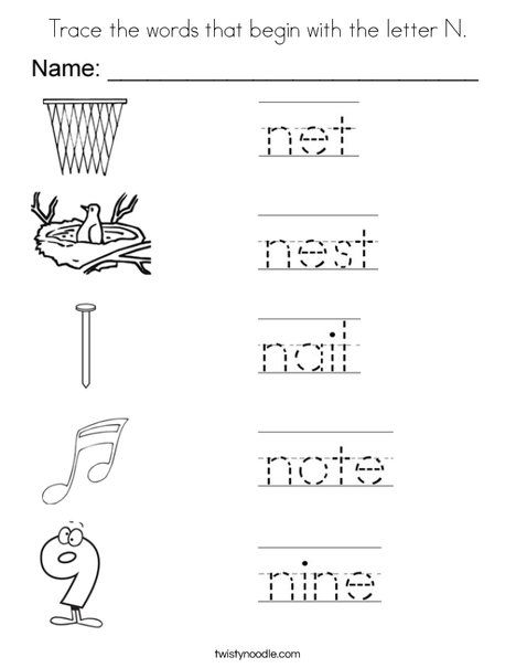 Trace The Words That Begin With The Letter N Coloring Page Lettering Letter N Kids Handwriting Practice