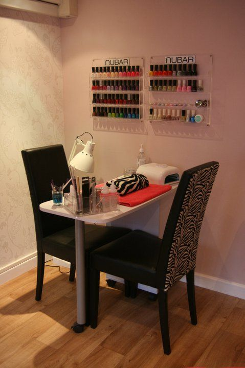 Small Space Nail Station L Nail Technician Room Home Nail Salon Set Up Idea Salon Flooring Ideas Home Nail Salon Nail Station Nail Salon Design