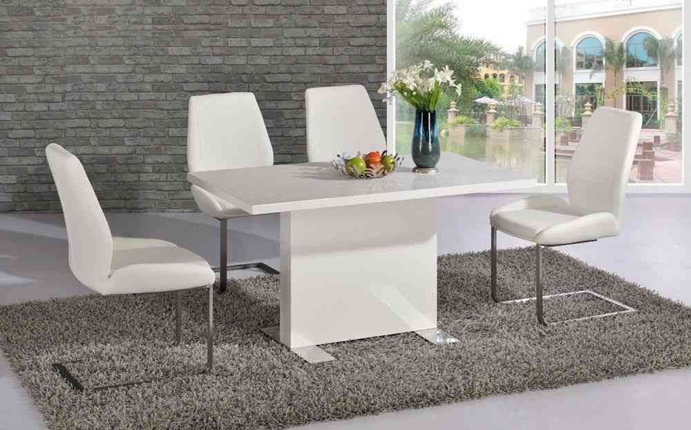 9b7755e33a5 White high gloss dining room table and 4 chairs - Homegenies