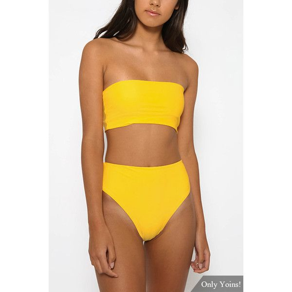 41c0fd7bda550 Yoins Yellow Casual Sleeveless Tube Top Bikini Set (16 CAD) ❤ liked on  Polyvore featuring swimwear