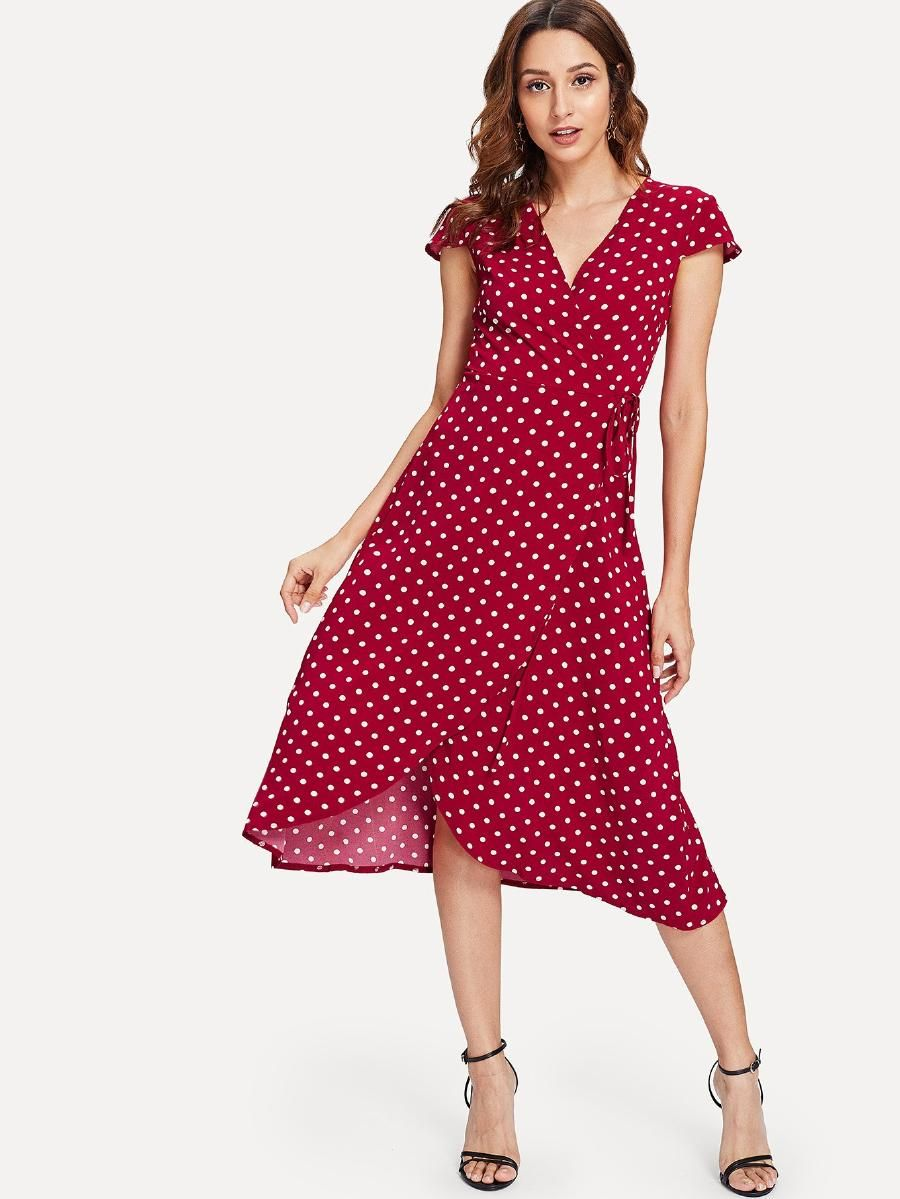 a95ecf90344 Polka Dot Print Wrap Dress -SheIn(Sheinside)