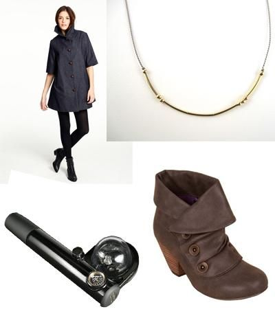 cute coat; a morse code necklace; LOVE the boots!!