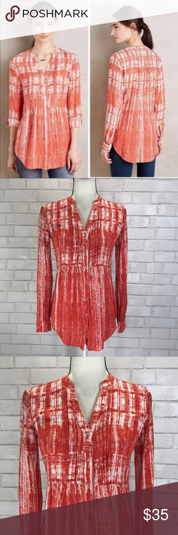 24f6b791ea000 Anthro Maeve Calia Pintuck Button Down Blouse EUC This is a Maeve for  Anthropologie Calia Blouse
