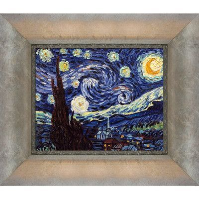 La Pastiche 'Starry Night' by Vincent Van Gogh Framed Painting on Canvas