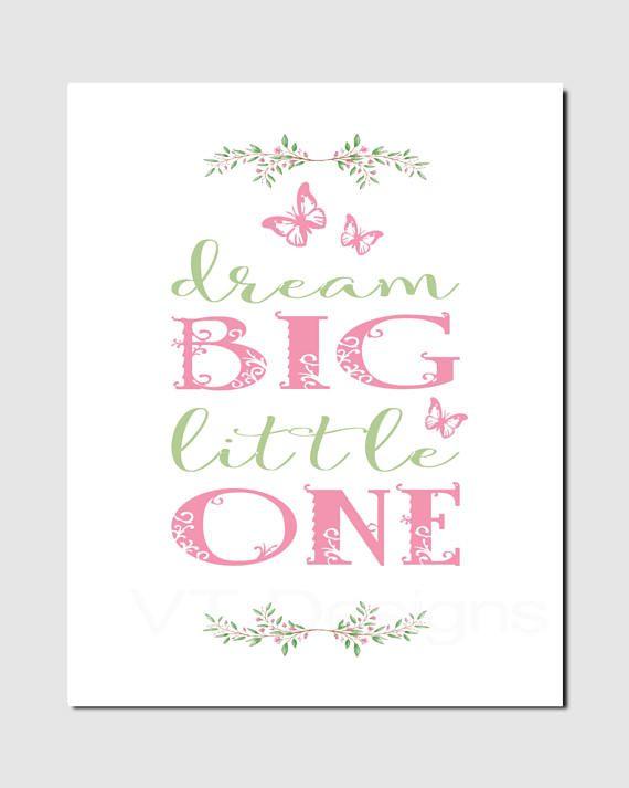 fef9625f8dd14 Dream Big Little One, Girl Nursery Decor, Butterfly, Flowers, Pink ...