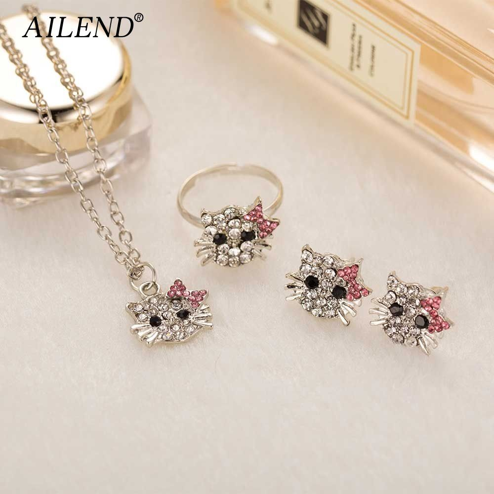 6e70fdf31 AILEND New Crystal Stud Earrings Rhinestone Hello Kitty Earrings Bowknot  Jewelry For Girls Ring,Earring and Necklace Set