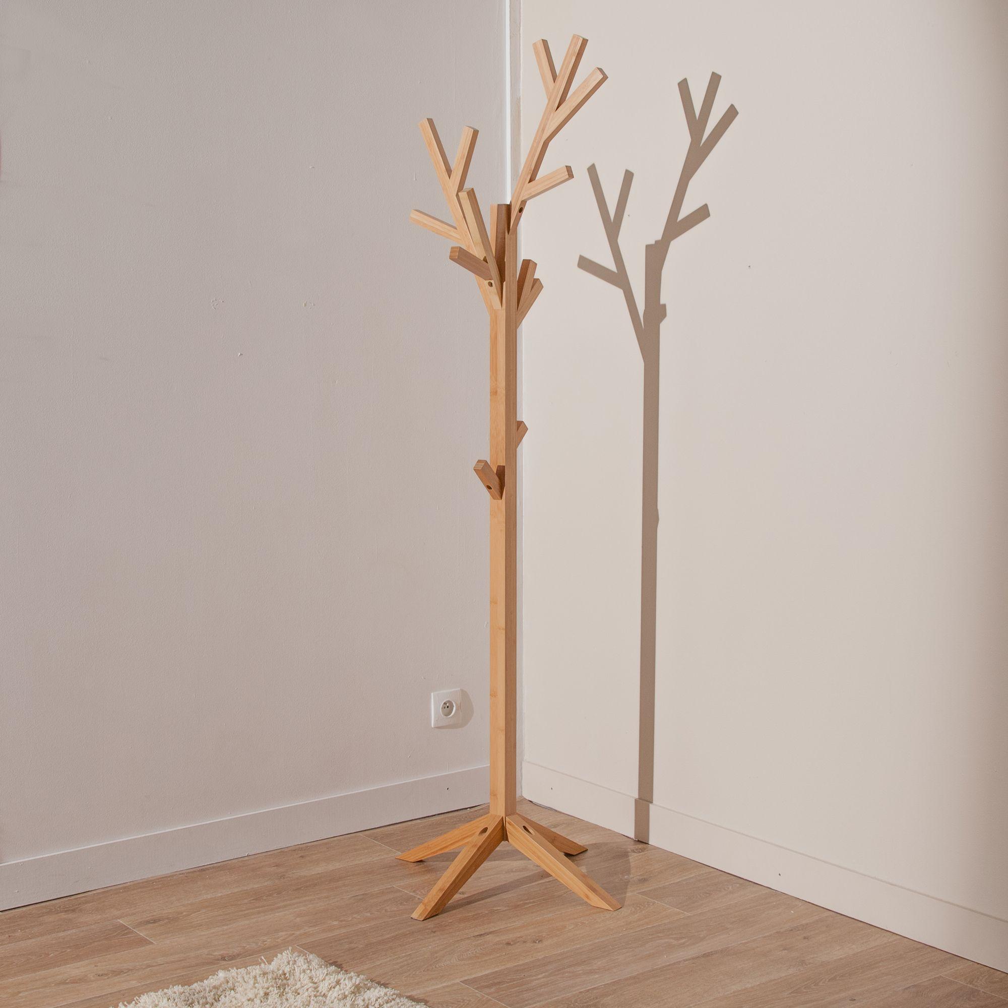 Porte manteau arbre sur pied en fr ne coloris naturel h for Porte manteau bois flotte pied