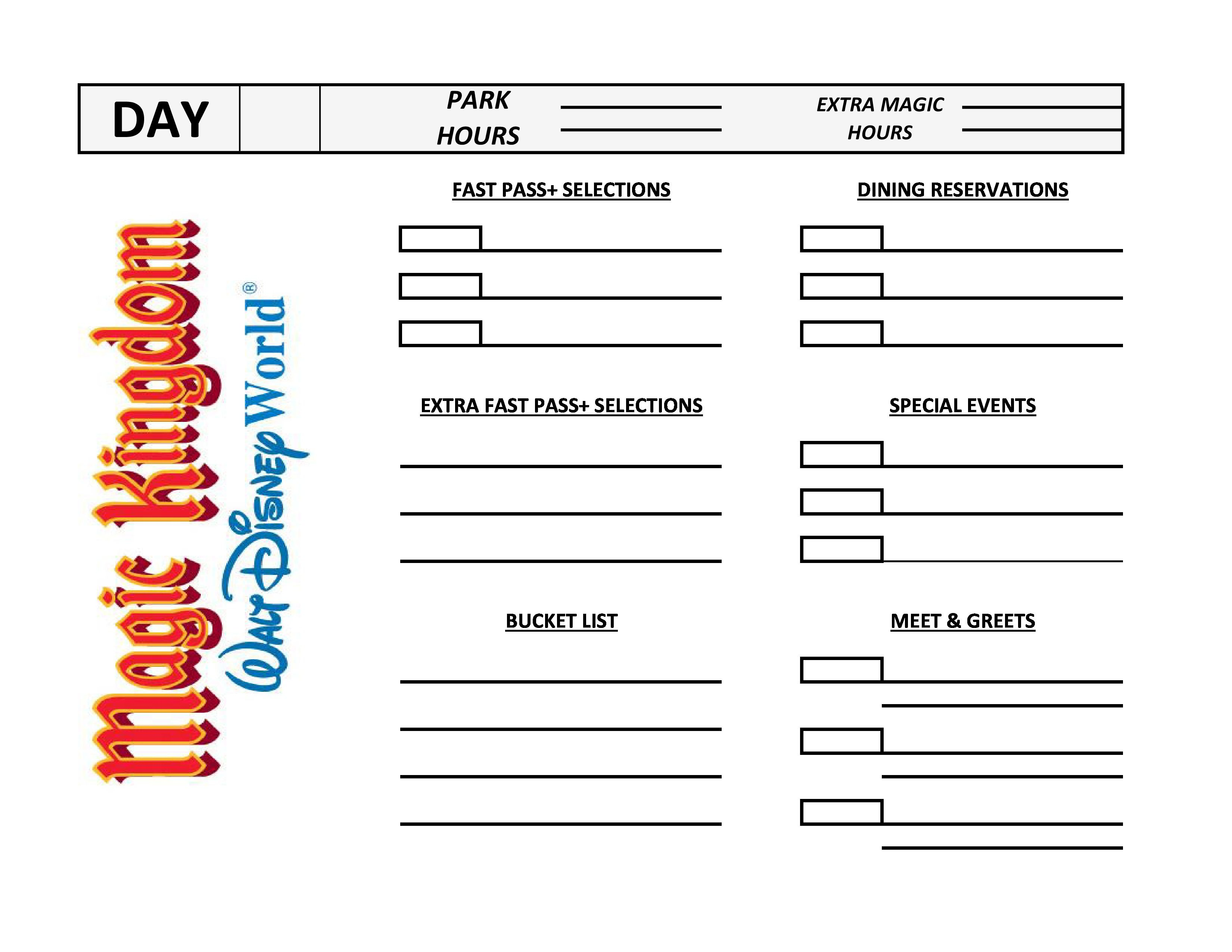 Itinerary Sheets I Came Up With