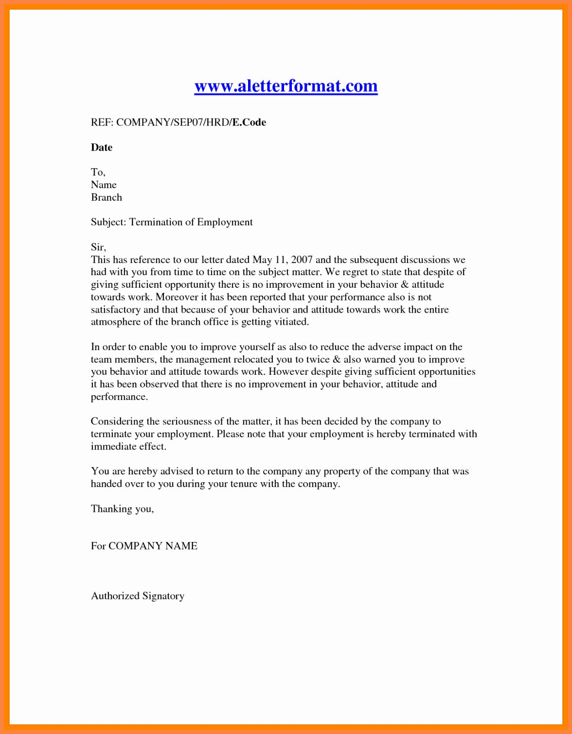 Sample Termination Of Employment Letter Fresh 11 Employment Termination Notice Sample Lettering Simple Cover Letter Template Book Cover Design Template