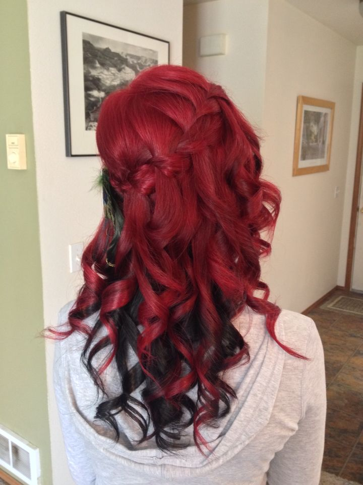Waterfall Braid Bright Red With Black Underneath Hair Color Underneath Shades Of Red Hair Black Red Hair