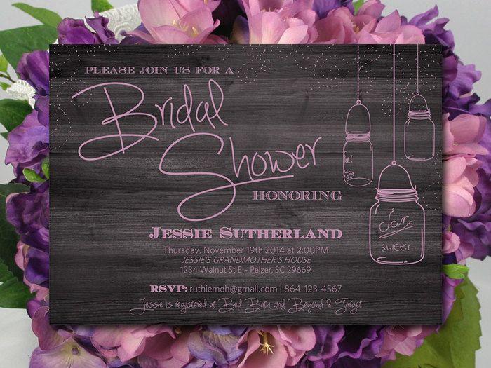 Mason Jar Bridal Shower Invitation Template Download Rustic