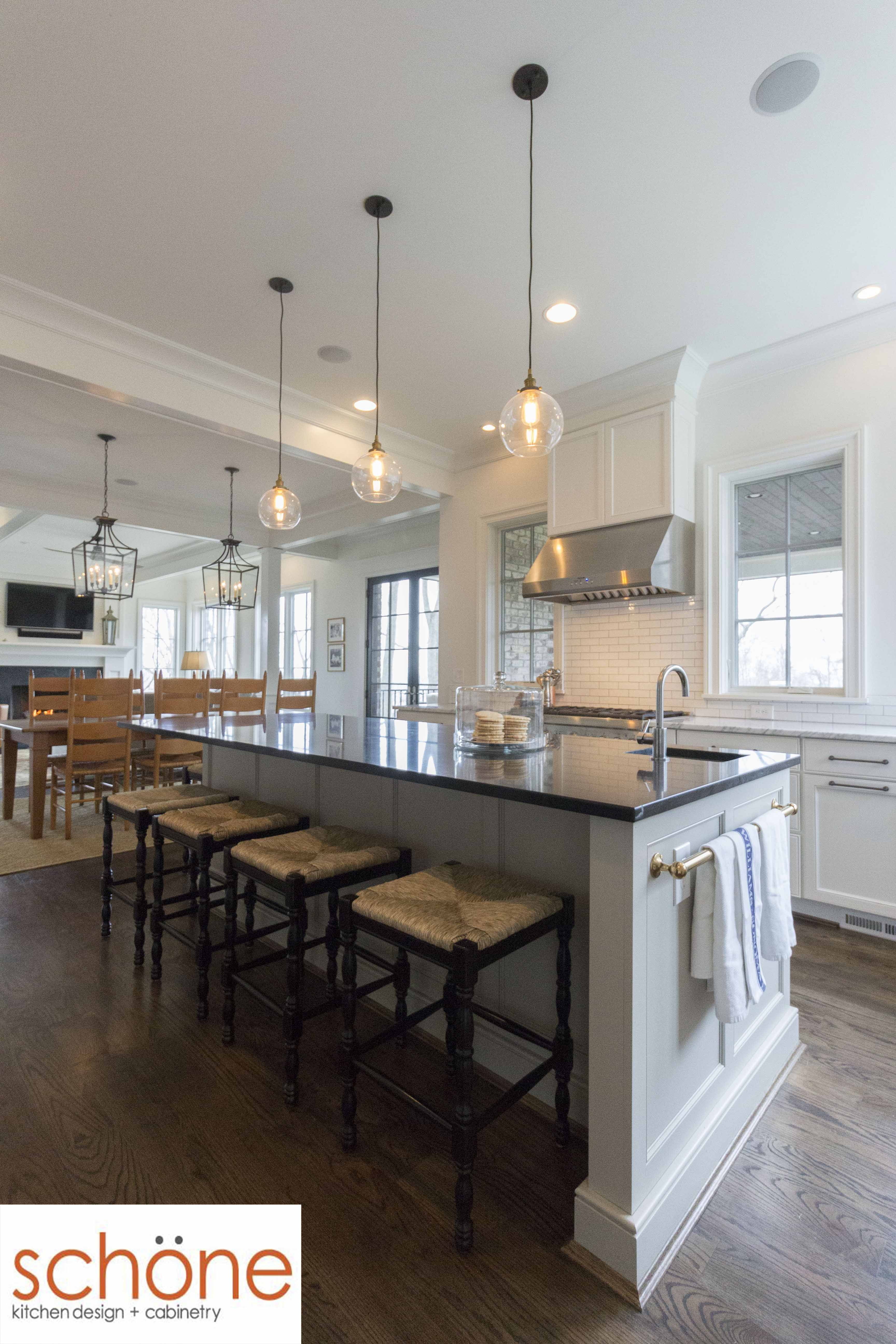 This Kitchen Looks Great All Year Around With Its Stunning White Look With Tan And Blue Accents Take A Tour Of Custom Kitchens Design Kitchen Design Kitchen