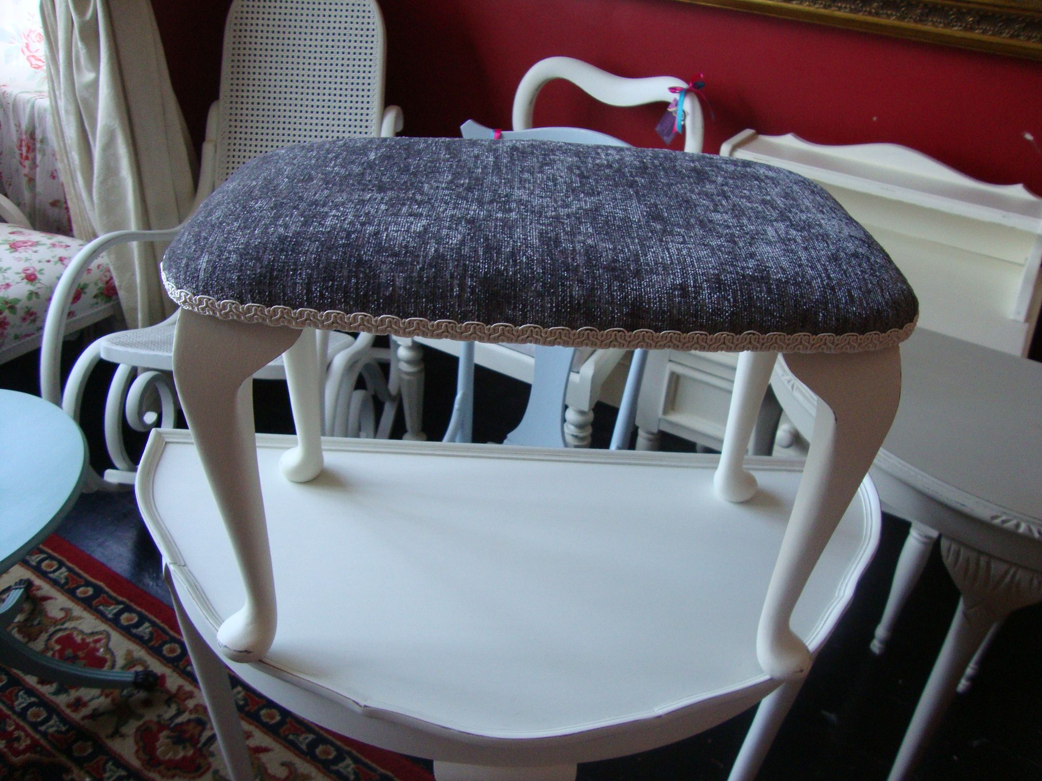Vintage 1930s Low Dressing Table Stool/footstool In Ne White, Reupholstered  With Silver Grey