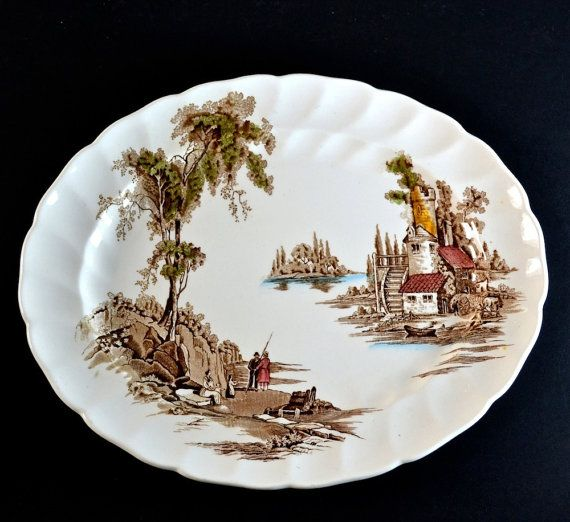 Farmhouse Kitchen Lowestoft: Johnson Brothers Serving Plate Oval Platter, Brown