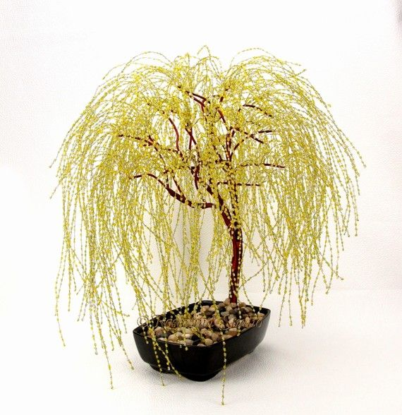 Golden Weeping Willow Beaded Bonsai Tree - Glass and Wire Tree ...