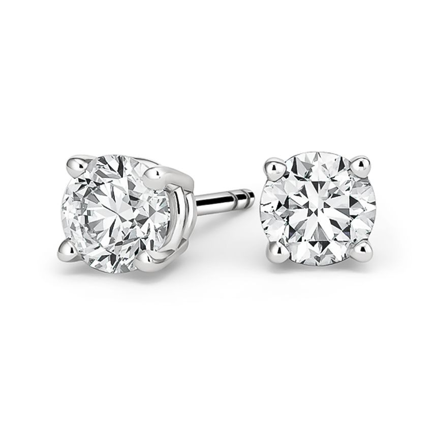18k White Gold Round Diamond Stud Earrings 4 Ct Tw In 2020 Diamond Earrings Studs Round Diamond Studs Stud Earrings