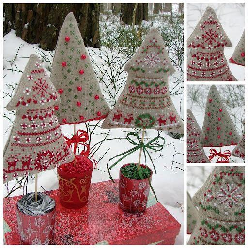 embroidery a cross decorative new year trees ~ i like the red one