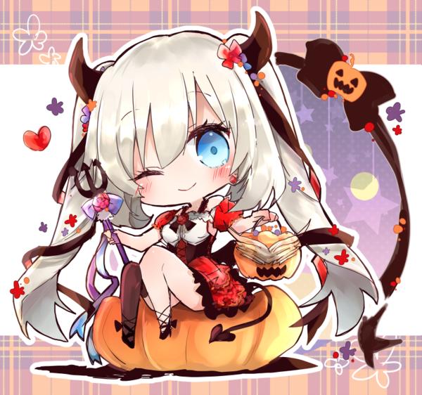 Dessin Fille Halloween Citrouille Kawaii Chibi