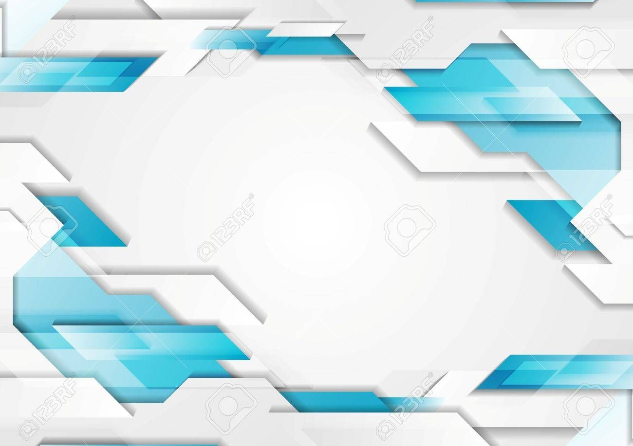 Abstract Geometric Tech Corporate Background Blue White Grey