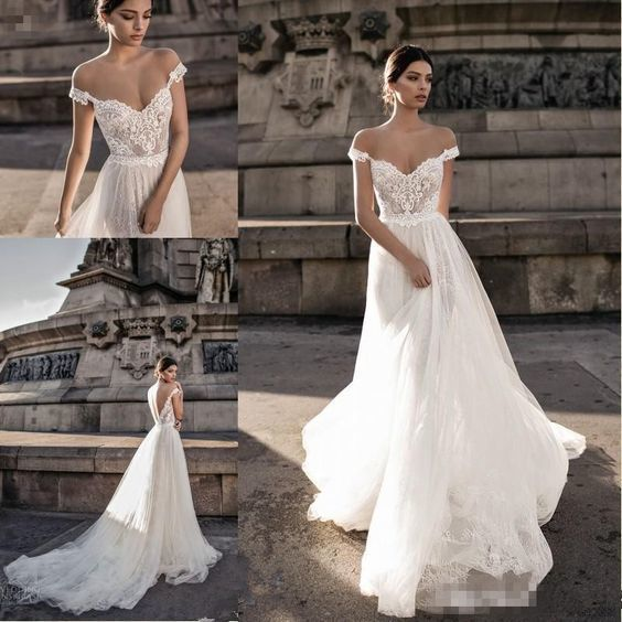 Elegant White Lace Off The Shoulder Wedding Dresses,A-Line Sweep Train Bridal Dress ML4773