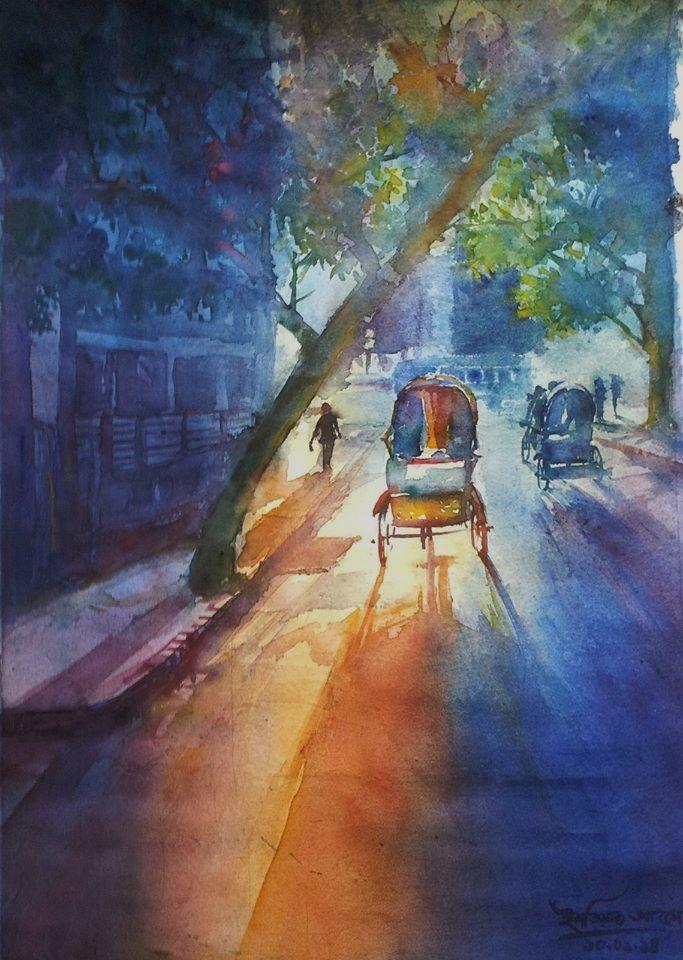 Cityscape Watercolour 15 X 22 Dhanmondi Dhaka City