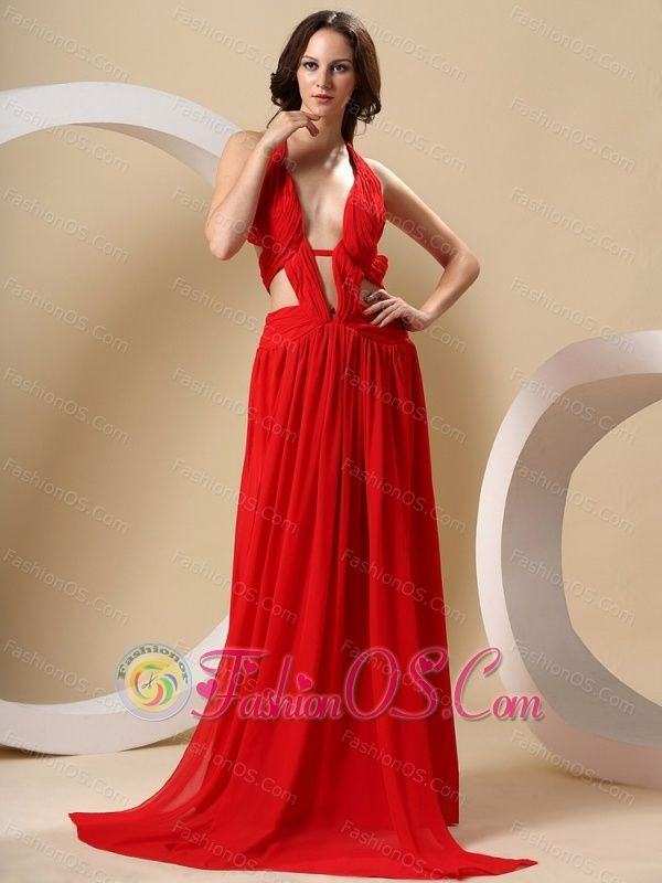 Red Special Prom Dress With Halter High-Slit http://www.fashionos ...