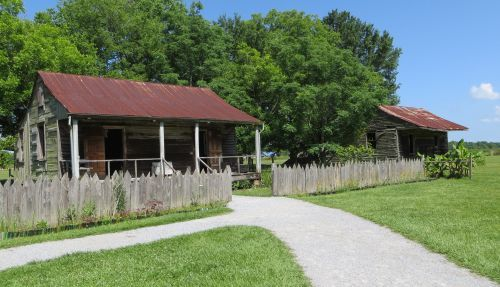 Former slave cabins on the Laura sugar plantation in Louisiana