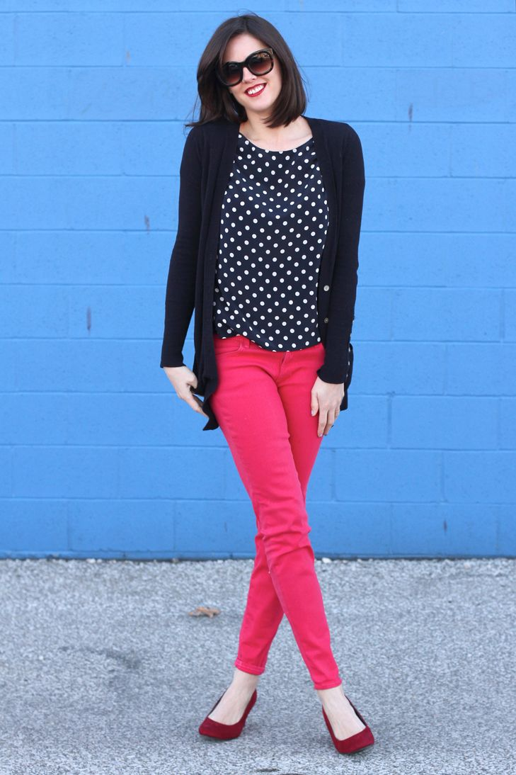 Black cardigan, navy and white polka dot blouse and pink jeans. I'm still looking for the right pink jeans...