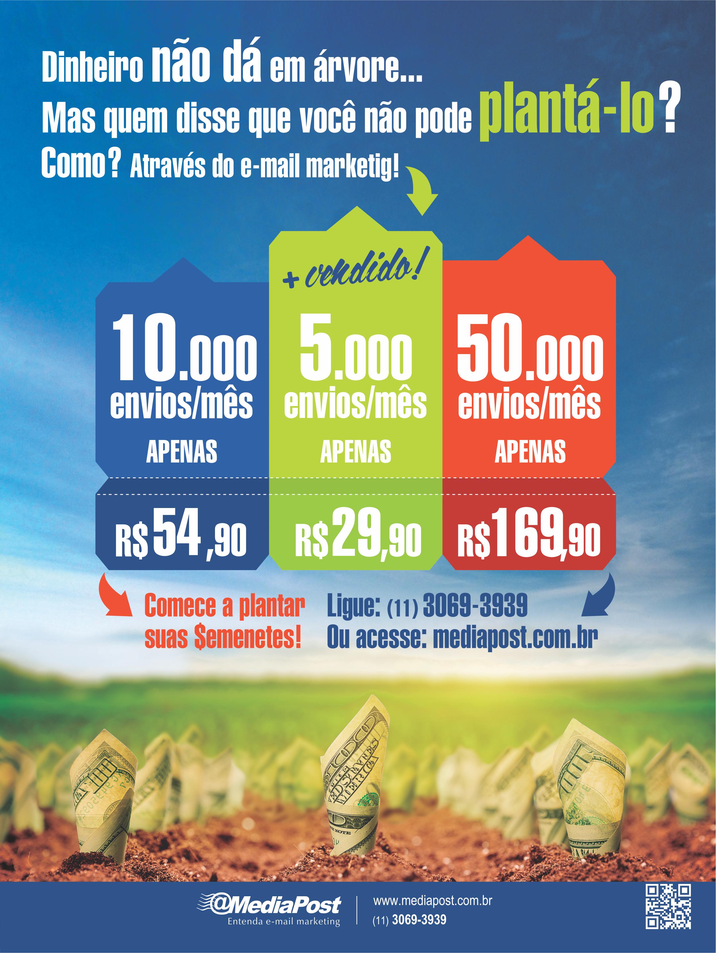Campanha promocional @MediaPost divulgando os planos de envios com temática Plantação de Dinheiro.