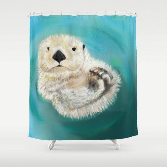 Sea Otter Bathroom Shower Curtain