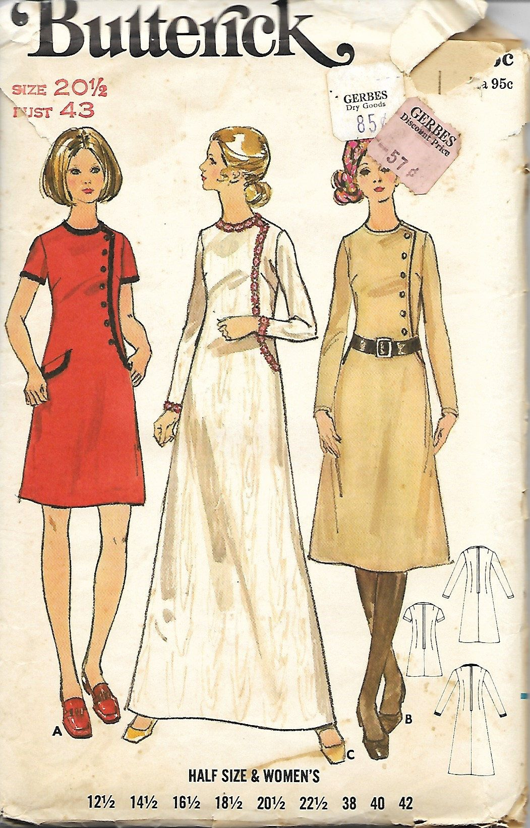 Butterick 5990 Misses Half Size Sewing Pattern A Line Dress With