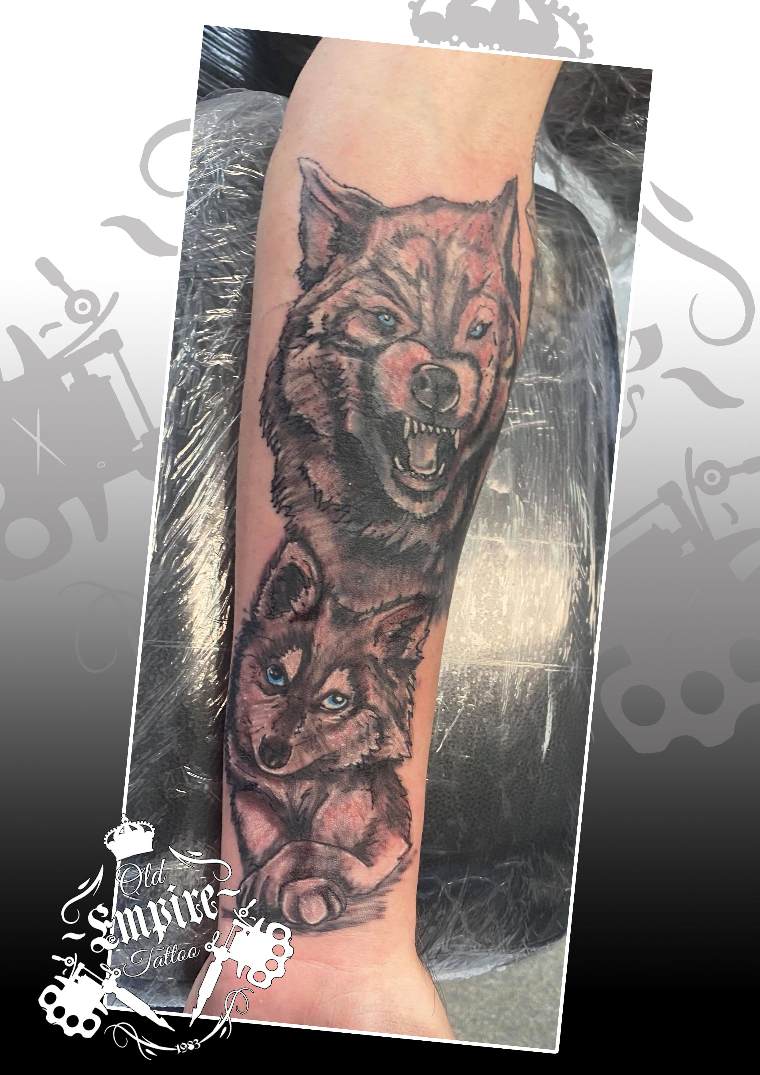 Continuing work on a #Sleeve with a #Wolf #Tattoo! #WolfCub #WolfTattoo #SleeveTattoo #GuysWithTattoos #BlackAndGreyTattoo #Nature #WolfPack #WolfFamily #Empire #TattooStudioNearMe #Ink #OldEmpireTattoo