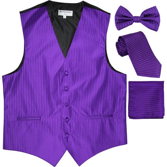 for Formal Occasions Men/'s Solid Lavender Polyester Vest with Self Tie Bowtie and Handkerchief