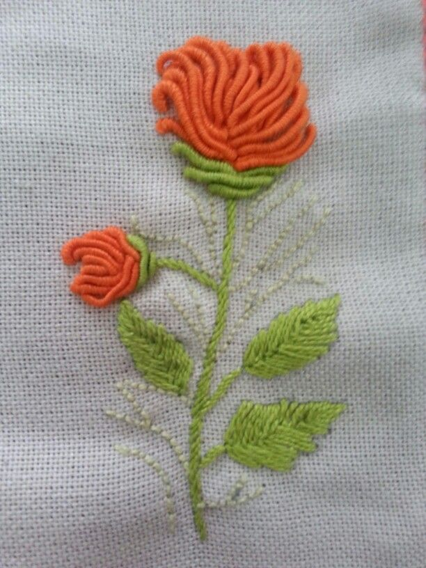 Long Bullion Stitches Form A Lovely Flower In Be Brazilian