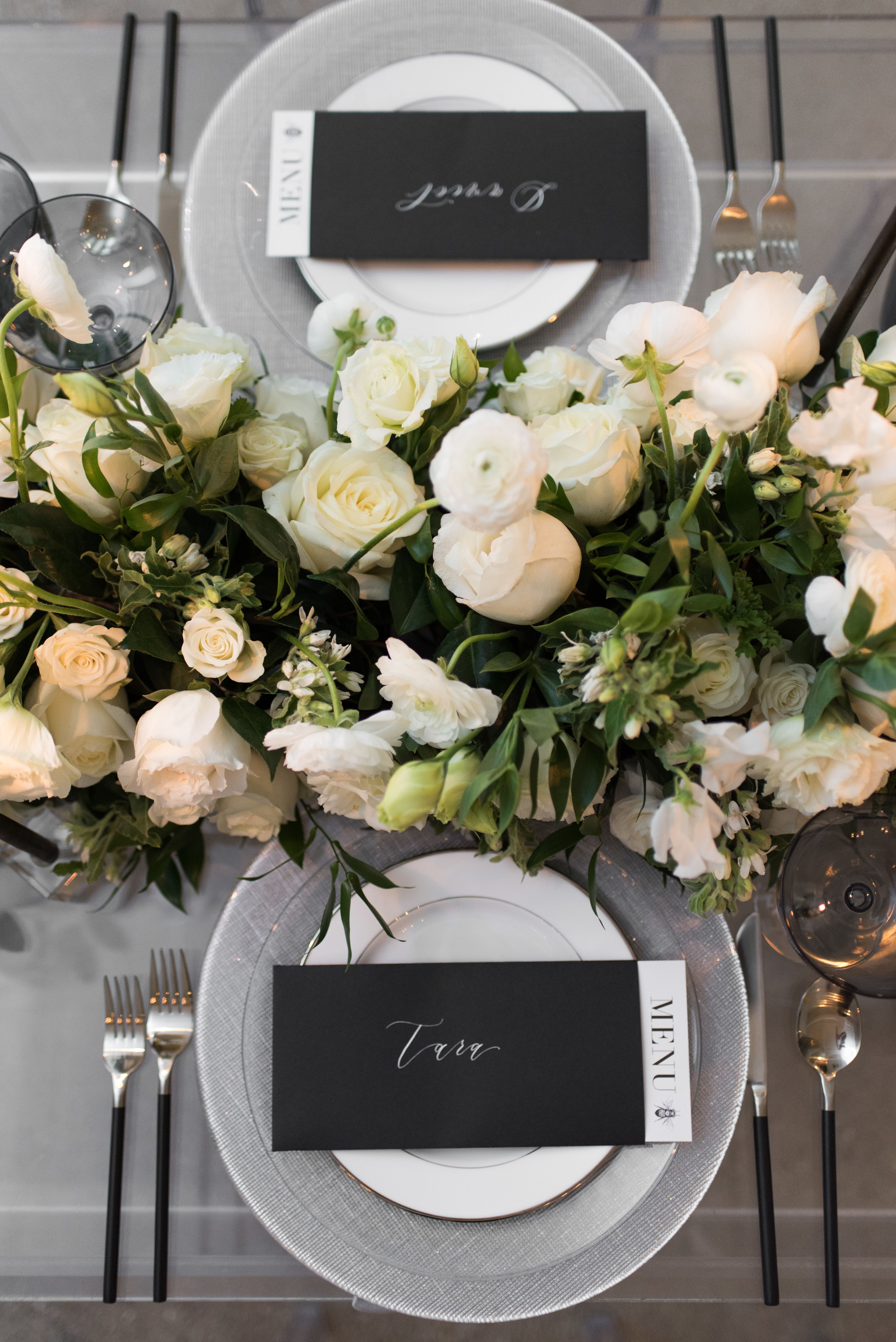 How To Create Your Own Wedding Brand In Five Steps White Table Settings Modern Wedding Reception White Weddings Reception