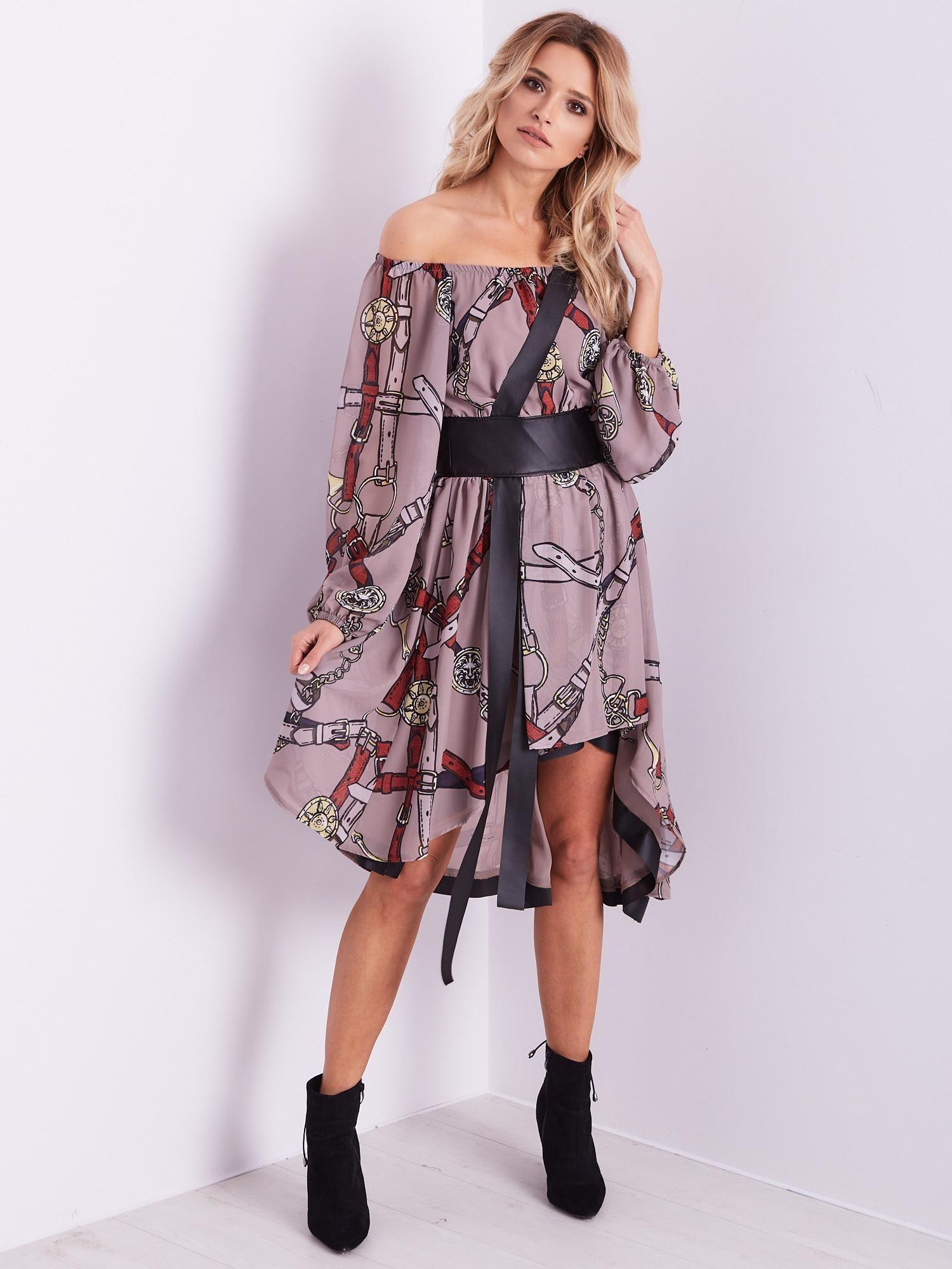 By O La La Bezowo Czerwona Sukienka Hiszpanka Z Nadrukiem Sukienka Na Co Dzien Sklep Ebutik Pl Fashion La Fashion Kimono Top