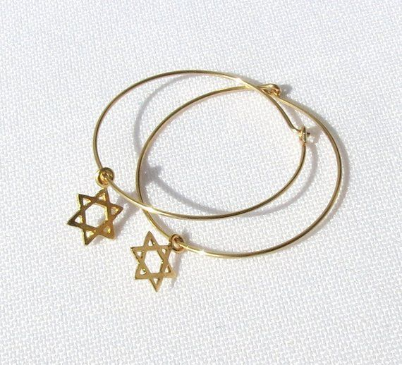 a3b925a0a Star of David Earrings, Gold Star of David Hoop Earrings, Gold Jewish Star,  Jewish Jewelry, Gold Hoo
